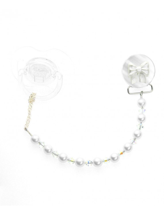 Bow with Pearls & Crystals Pacifier Clip