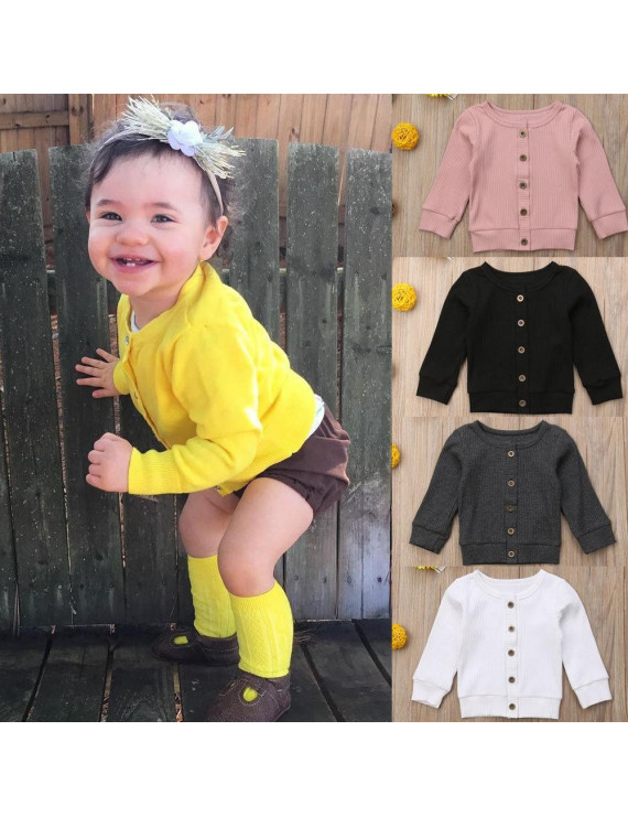Fashion Newborn Baby Girl Boy Knitted Long Sleeve Sweater Cardigan Button Tops