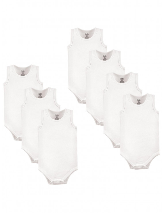 Luvable Friends White Baby Boy or Girl Gender Neutral Sleeveless Bodysuits, 7-Pack