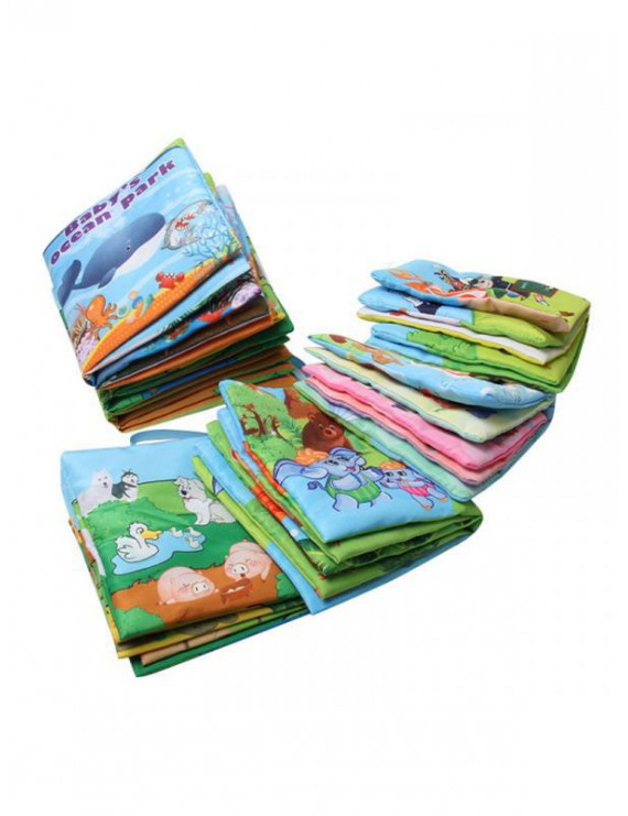 Topumt Fabric Activity Crinkle Soft Books Baby Early Educational Toy