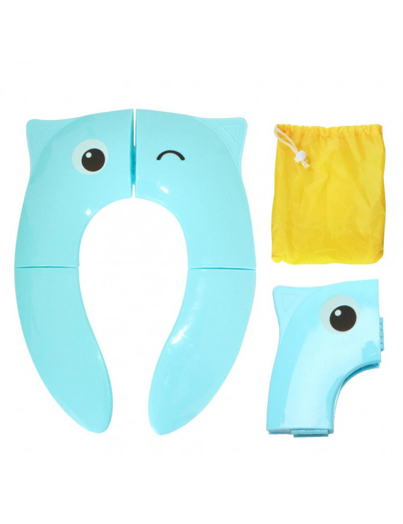 Foldable Potty Training Seat Cover Liner Toilet for Toddler Kid Girl Boy Non Slip Silicone Pads Portable Reusable for Home Travel with Carry Bag Cute Cartoon Blue Owl Wink