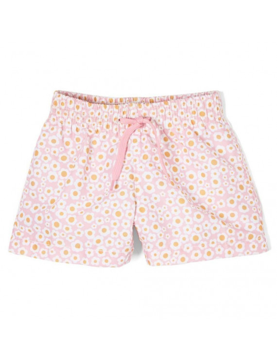 Azul Little Girls Pink Flower Print Drawstring Dreamy Daisies Swim Shorts