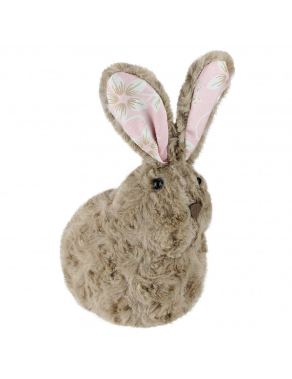 """Northlight 8"""" Plush Floral Eared Bunny Easter Rabbit Spring Figure - Brown/Pink"""