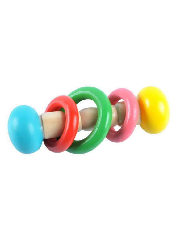 Baby Boy Girl Rattle Infant Bed Hand Bell Rattles Wooden Toys Handbell Musical Educational Instrument Toy