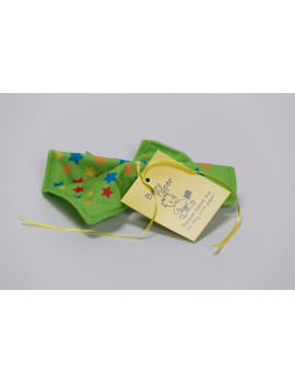 Baby Paper Stars Green Crinkly Baby Toy - White