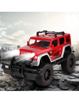 1:12 Scale Remote Control RC Cars For Kids Monster SUV High Speed Racing Truck with Lights for Boys And Girls (Red)
