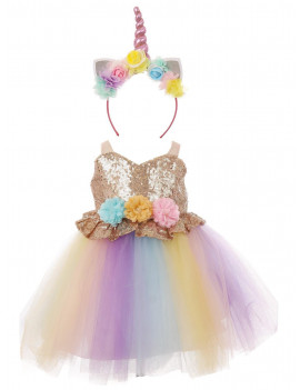Baby Girls Pink Multi Unicorn Sequin Tulle Headband Flower Girl Dress
