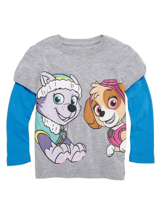 Paw Patrol Toddler Girls Skye & Everest Dog Gray & Blue Long Sleeve Shirt