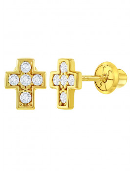 14k Yellow Gold Clear CZ Little Cross Screw Back Earrings for Baby Girls