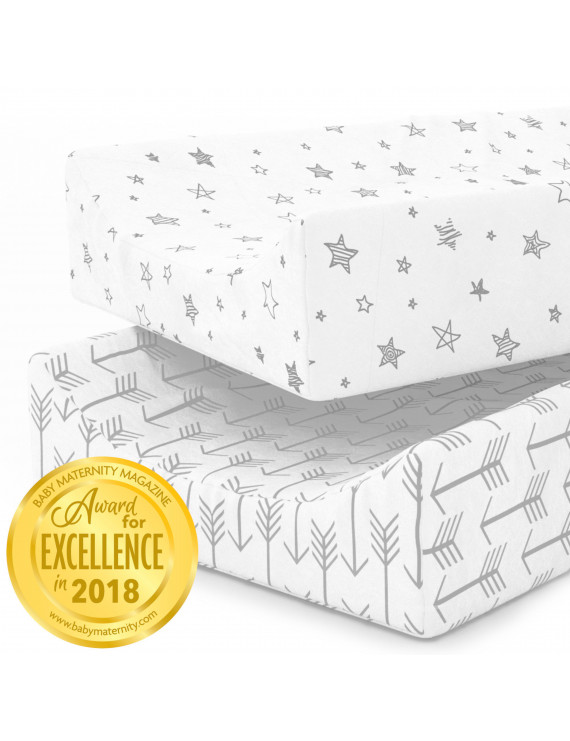 Kids N' Such Changing Pad Cover - Premium Jersey Knit Cotton- Will fit ANY Baby Changing Pad Size or Shape - Super Soft - Safe for Babies - 2 Pack Change Pad Liner or Cradle Sheet - Arrow and Stars