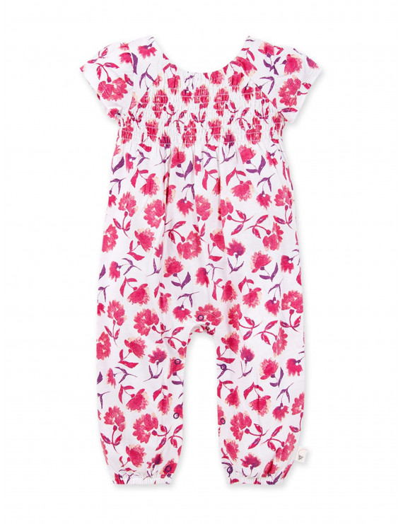 Burt's Bees Baby Girl Organic Spring Picks Floral Jumpsuit Romper, One Piece Outfit