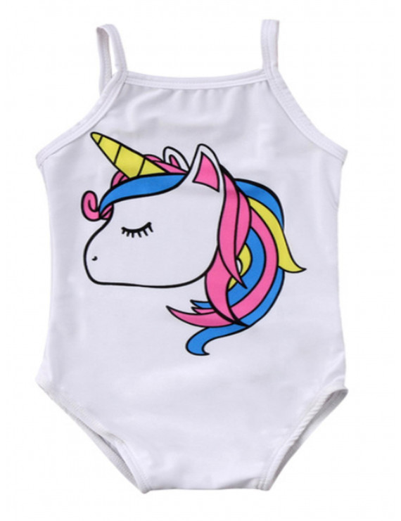 Bilo Baby Girl Unicorn Print One-Piece Swimsuit Beachwear Bathing Suit 3 Colors (70/3-6 Months, White)