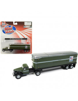 "1941-1946 Chevrolet Tractor Trailer Truck ""U.S. Mail"" Army Green 1/87 (HO) Scale Model by Classic Metal Works"