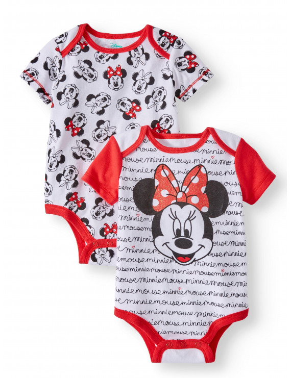 Minnie Mouse Graphic Bodysuits, 2-pack (Baby Girls)
