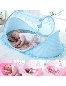 12-36 Month Baby Travel Bed Portable Infant Baby Travel Crib Tent Canopy Breathable Mosquito Net Sleeper Bed with One Pillow