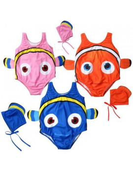 2pcs kids baby girl swimsuit goldfish swimwear swimmable bathing suit+swimming hat 1-6years