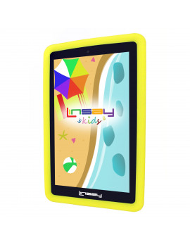 "LINSAY 7"" Tablet Kids 2 GB RAM 16 GB Android 9.0 Funny Tab with Yellow Defender Case Dual Camera"
