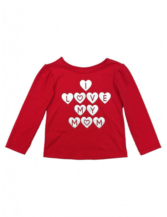 Toddler Girls Red I Love My Mom Valentines Day T-Shirt Long Sleeve Top