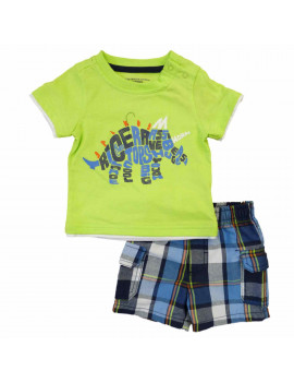 Kids Headquarters Infant Boy Triceratops Word Cloud T-Shirt Plaid Shorts Set