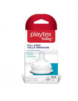 Playtex Baby Medium Sized Shape for Wider Mouths, BPA Free, 3M+ Medium Flow, 2 Silicone Nipples