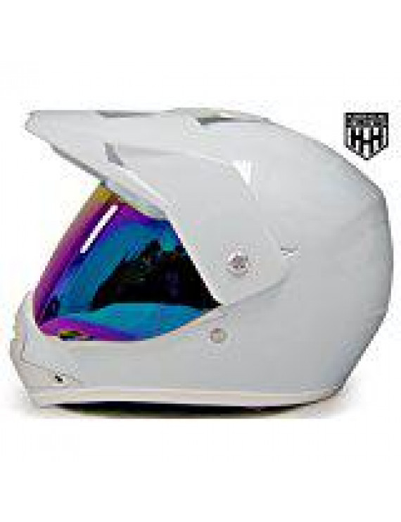 HHH DOT Youth & Kids Helmet for Dirtbike ATV Motocross MX Offroad Motorcyle Street bike Snowmobile Helmet with VISOR (Large, White)