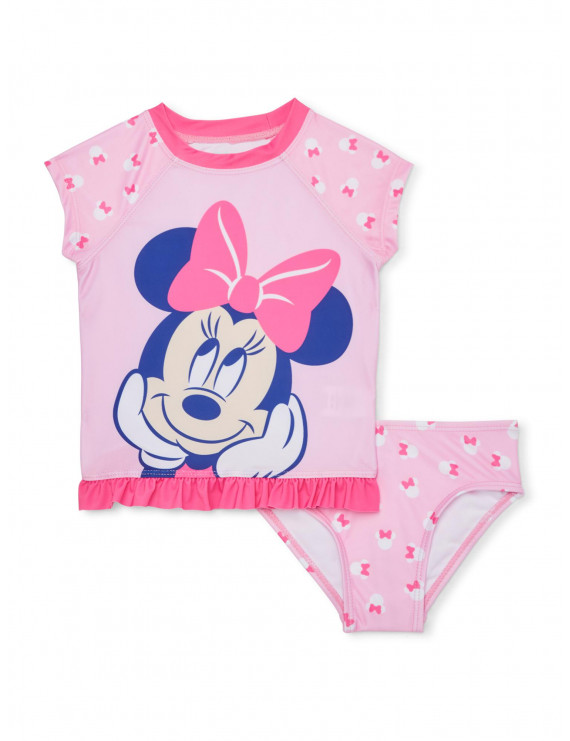 Minnie Mouse Baby Girl Rash Guard Two-Piece Swimsuit