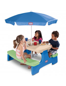 Little Tikes Easy Store Kids Picnic Table with Umbrella