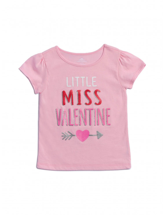 Way to Celebrate Toddler Girl Valentines Day Short Sleeve Graphic Tee, Little Miss Valentine