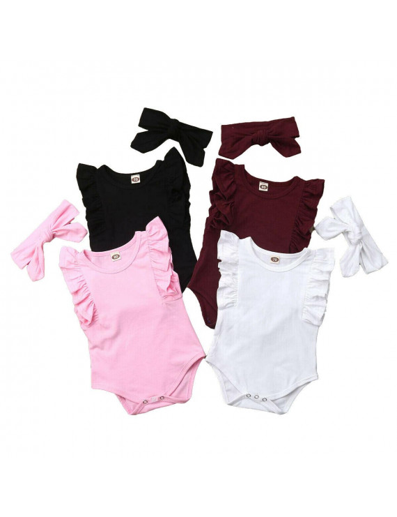 2PCS Baby Girls Infant Ruffle Romper Bodysuit Jumpsuit Outfit Clothes Summer