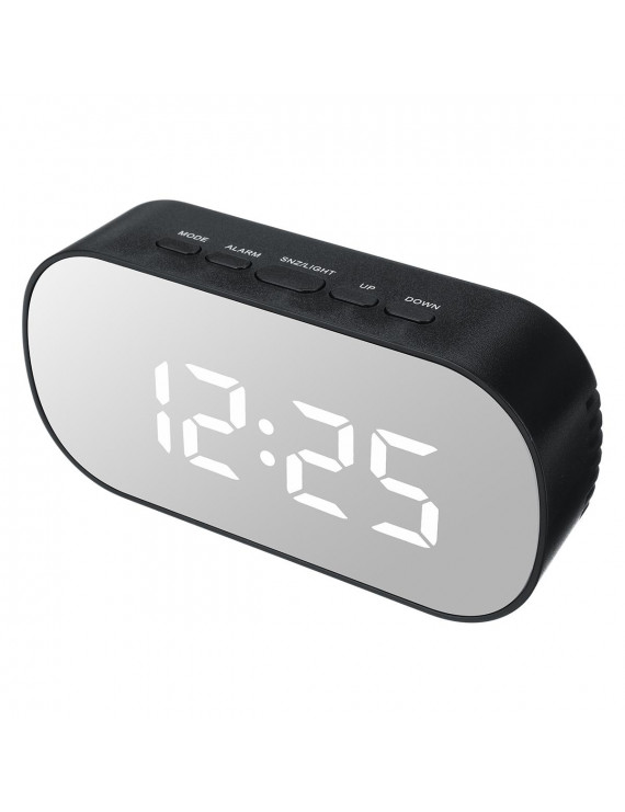 Multifunction LED Mirror Alarm Clock with Dimmer, Snooze,Temperature Display Function, Brightness Adjustable for Bedroom Office Travel