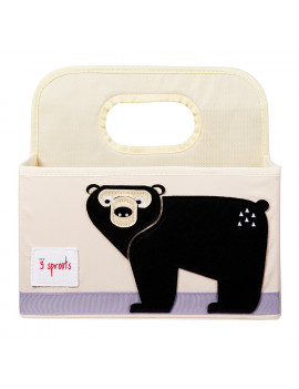 3 Sprouts UDOBEA Polyester Divided Portable Diaper Caddy with Black Bear Design