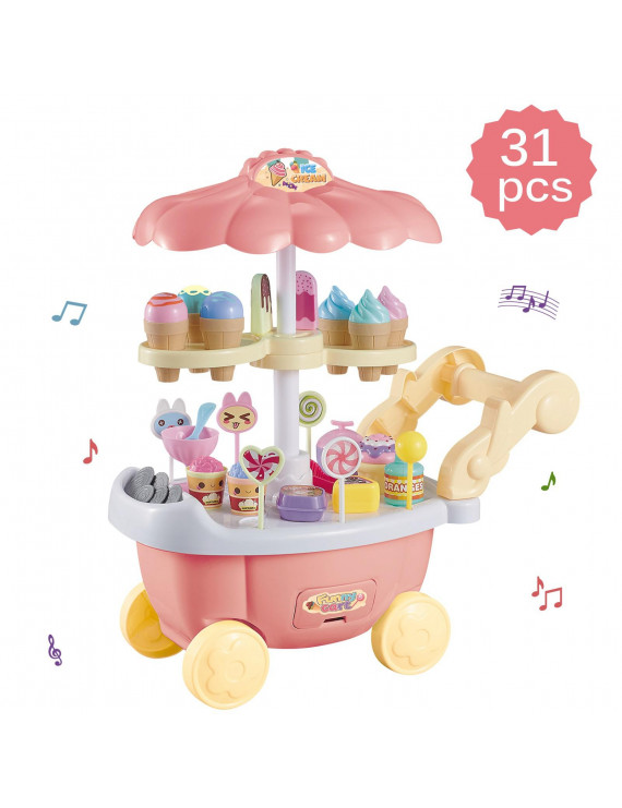 Vokodo Ice Cream Cart 31 Piece Dessert Candy Trolley Kitchen Toy Set With Music Umbrella Food Dishes Kids Educational Pretend Play Early Learning Cooking Truck Great Gift For Preschool Children Girls