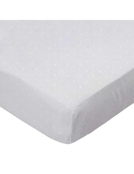 SheetWorld Fitted 100% Cotton Jersey Pack N Play Sheet Fits Graco 27 x 39, White Swiss Dot