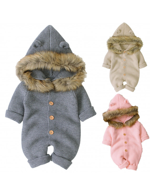 Newborn Baby Girl Fall Winter Warm Romper Bodysuit Jumpsuit Hoodies Clothes