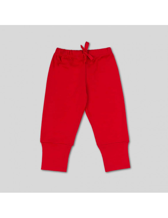 Baby Pant With Elongated Cuffs - 6-9 Months, Red
