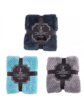 12 Pack - Premium Velvet Throw Blankets in Bulk in 3 Assorted Colors