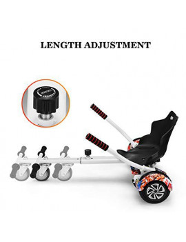 All In One 1 Hover Cart Attachment For Hoverboard - Transform your Hoverboard into a Go Kart with Hovercart - White