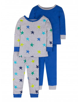 Little Star Organic Baby & Toddler Boy Brights Long Sleeve Snug Fit Cotton Pajamas, 4-Piece Set