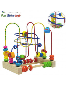 Wooden Toys, Beads Maze Roller Coaster Educational Toys for Toddlers, Baby Around Circle Bead Skill Improvement Wood Toys Birthday Gift for Boys & Girls F-06