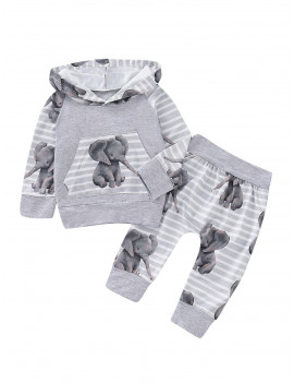 0-18M Newborn Baby Boy Elephant Animal Hooded Tops Long Pants Outfits Clothes Set