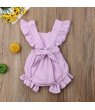 Cute Newborn Baby Girl Ruffle Solid Tops Romper Playsuit Jumpsuit Outfit Sunsuit