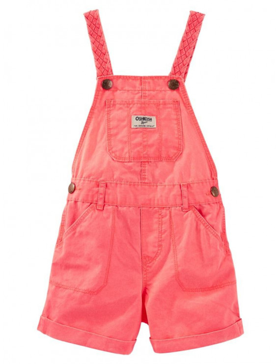 Carter's OshKosh B'gosh Baby Clothing Outfit Girls Neon Twill Braided Strap Shortalls Coral