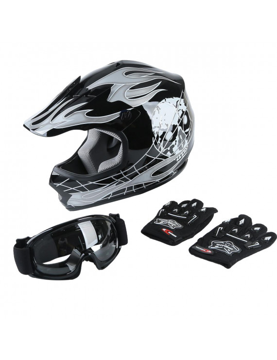 TCMT DOT Helmet for Kids & Youth Black Skull with Goggles & Gloves for Atv Mx Motocross Offroad Street Dirt Bike L Size