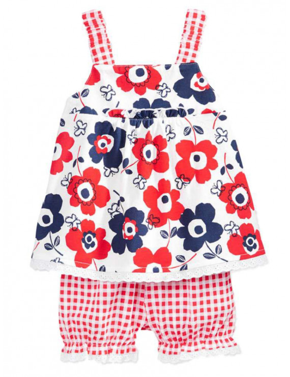 First Impressions Infant Girls 2 PC Flower Shirt & Red Check Bloomers Set