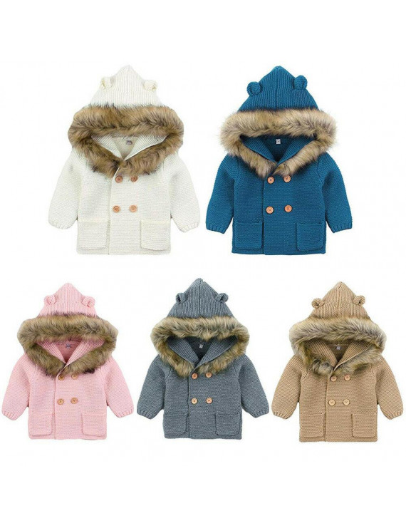 Newborn Baby Boys Girls Crozy Sweater Double Breasted Knitted Coat Hooded Top