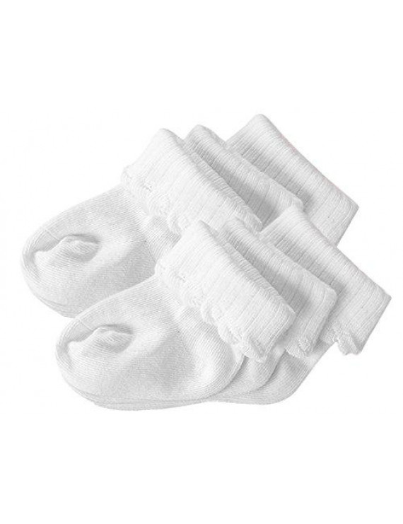 StylesILove Ruffle Baby Girls 3 12 24 Months Non-slip Roll Cuff Socks - 3-pack or 6-Pack (0-3 Months, 3-Pack)