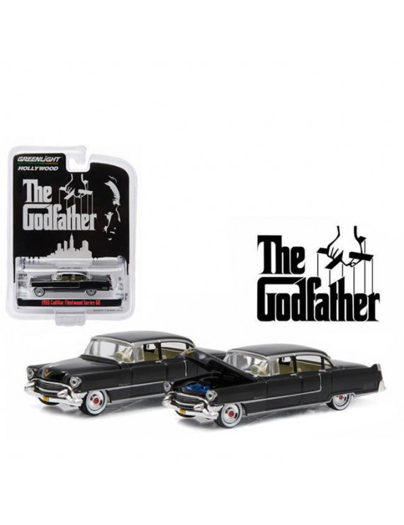 1 by 64 1955 Cadillac Fleetwood Series 60 Special The Godfather 1972 Diecast Model Car - Black