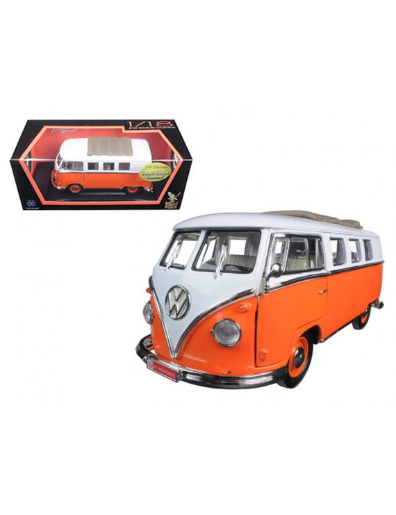 1962 Volkswagen Microbus Orange With Retractable Roof 1/18 Diecast Model Car by Road Signature