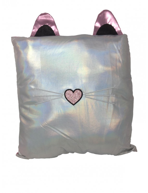 Holographic Poly Jersey Cat Pillow