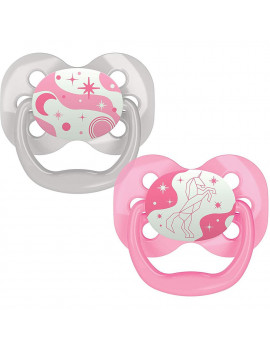 Dr. Brown's Advantage Glow-in-The-Dark Stage 1 Pacifiers, Pink